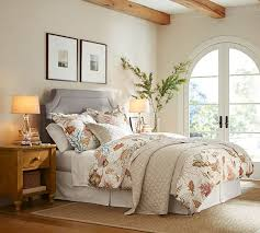 Pottery Barn Upholstered Bed Like The Ardley Upholstered Headboard Belgian Flax Linen Diamond