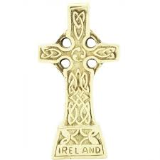 brass standing celtic cross with knots