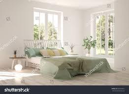 bedroom green landscape window scandinavian stock