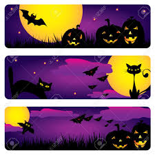 three halloween banners with cats owls bats pumpkins royalty