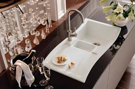 white sink black countertop kitchen appliances modern corner kitchen sink with single bowl