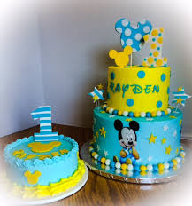 baby mickey 1st birthday cake with matching smash cake my own