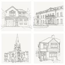 home drawing hand drawn bespoke house sketch by letterfest notonthehighstreet com