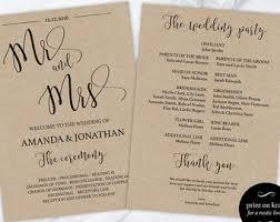 Cheap Wedding Programs Printable Wedding Program Template Diy Wedding Program