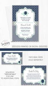 navy and mint baby shower invitation elephant baby shower