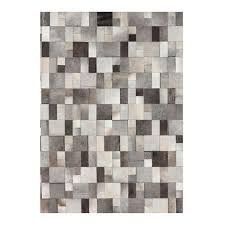 Leather Area Rug Area Rug Grey White Leather Hide Squares Canvas Interiors