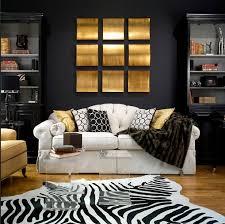 living rooms zebra cowhide rug black walls paint color black