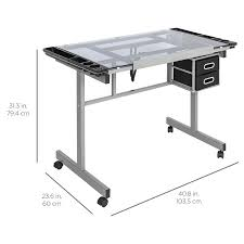 best choice products office drawing desk station tempered glass adjust