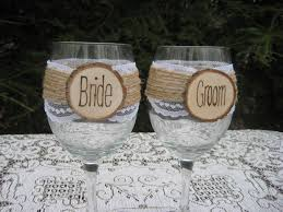 wedding wine glasses bride and groom glasses rustic wine