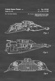 star wars snowspeeder patent patent print wall decor star wars
