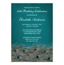 peacock 50th birthday party invitation card