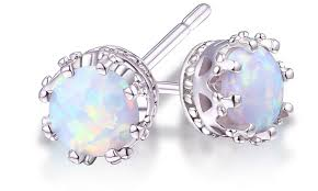 stud earrings 2 00 ctw genuine opal crown stud earrings groupon