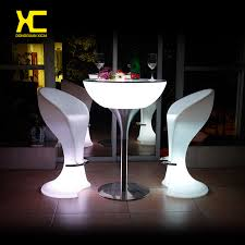 Plastic Bar Table Chargeable Remote Control Illuminated Led Bar Cocktail Table