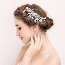2017 beijia 2017 silver leaf hair ornaments bridal clip rhinestone