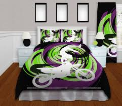 motocross bike rack motocross bedding for boys in black green u0026 purple motocross