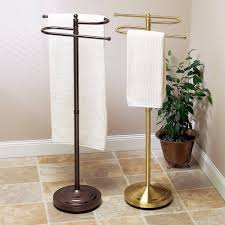 Free Standing Towel Stands For Bathrooms Bronze And Golden Towel Stands For Bathroom Floor Towel Rack