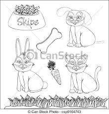 vectors pets accessories color drawings
