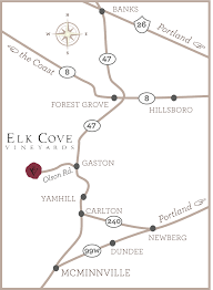 map of oregon wineries map and directions to elk cove vineyards