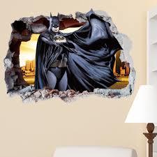 batman avengers smashed wall crack kids boy girls bedroom vinyl batman avengers smashed wall crack kids boy girls bedroom vinyl decal sticker gift