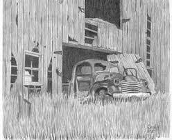 old barn pencil sketch