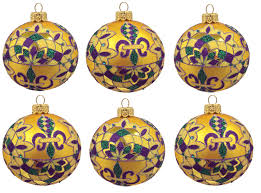 purple green and gold mardi gras balls polish glass christmas