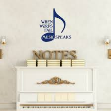 without music life would b flat vinyl wall decal musical quote when words fail music speaks wall decal quote with musical note deep blue