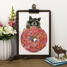 raccoon donut print by becci maryanne notonthehighstreet com
