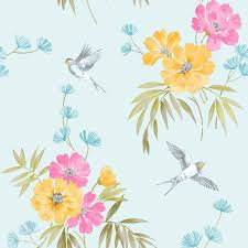 fine decor duck egg teal wallpaper floral birds flowers tree