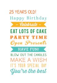 free printable 25th birthday cards greetings island