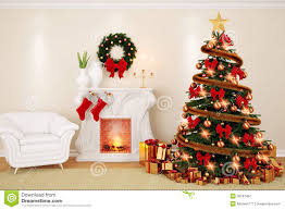 a decorate living room at christmas time with fireplace firtree