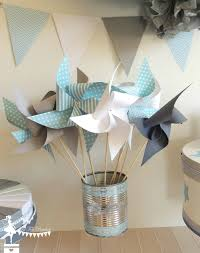moulin a vent deco decoration mariage bapteme baby shower moulin a vent bleu gris