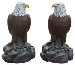 majestic eagles pair of concrete statues detail painted finish