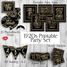themed signs printable gatsby themed 1920s party set props tags x 2 bottle