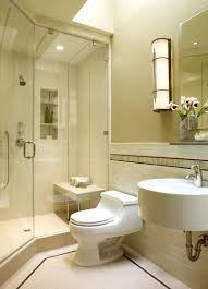 bathrooms design small space shower with cream wall and half