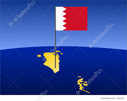 Map Of Bahrain Map Of Bahrain With Flag Illustration
