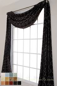Black Curtains With Valance Pasha Scarf Swag Window Topper Available In 13 Colors