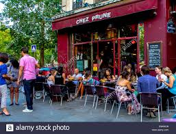 Prune Restaurant by Paris Cafe France Crowd Of French People Sharing Drinks In