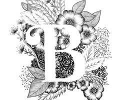 Monogram Letter B Letter B Print Etsy