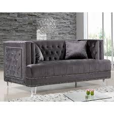 Black Velvet Tufted Bench Meridian Furniture 609grey L Lucas Grey Tufted Velvet Loveseat W