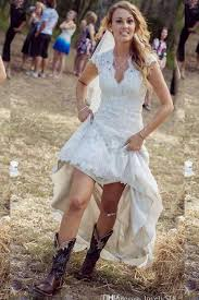 high low wedding dress with cowboy boots 45 country wedding dress with cowboy boots or