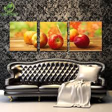Apple Decor For Home by 3pcs Canvas Wall Art Painting Picture Cuadros Apple Fruits