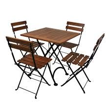 Folding Bistro Table And 2 Chairs 28 Inch Square European Folding Chestnut Wood Table