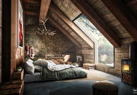 designing attic spaces home design ideas rustic attic bedroom that features amazing forest view