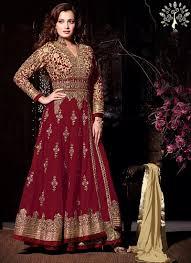 anarkali wedding dress dia mirza maroon anarkali suit