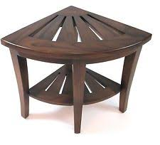 Teak Shower Bench Corner Teak Shower Seat Home U0026 Garden Ebay