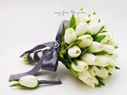 Tulip Bouquets Real Touch Tulips Bridal Bouquet White Charcoal Grey Ribbon Groom