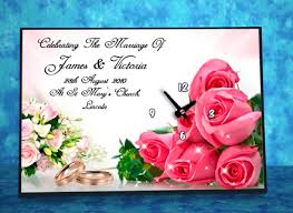 wedding clocks gifts roses themed wedding day clock gift personalised wedding day