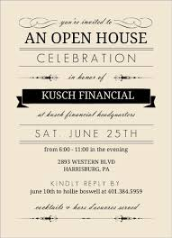 open house invitations and black typographic corporate open house invitation
