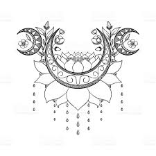 vector design crescent moon lotus and flowers