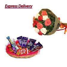 chocolate basket delivery buy mix roses with mix chocolate basket delivery online best
